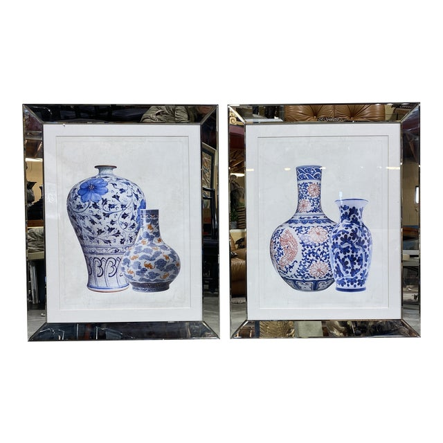 Mirrored Frame Ginger Jar Prints - - a Pair For Sale