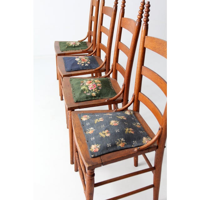 Victorian Ladder Back Chairs With Needlepoint - Set of 4 For Sale - Image 6 of 8