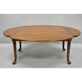 Vintage Queen Anne Statton Trutype Solid Cherry Wood Drop Leaf Coffee Table Preview