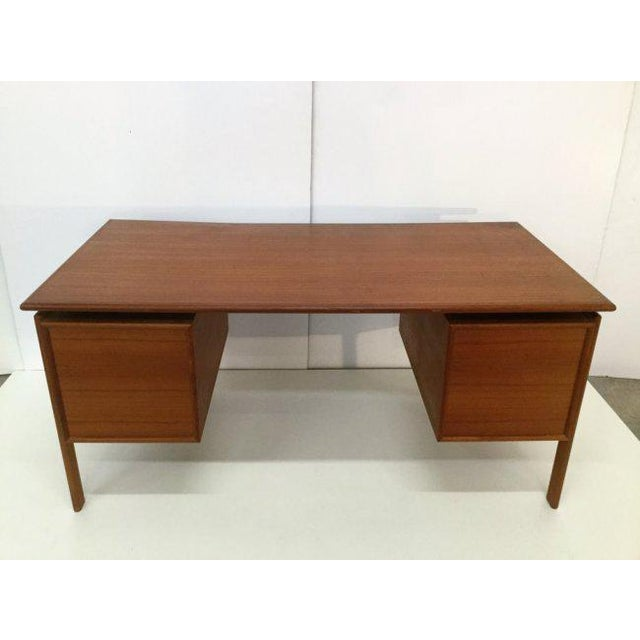 Danish Teak Double Pedestal Desk with Matching Chair For Sale - Image 4 of 10