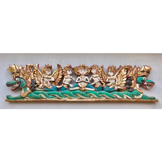 Southeast Asia Vintage Indonesian Hand-Carved Gold Paint Religious Festival Sculpture For Sale - Image 4 of 4