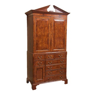 19th Century Yew Wood & Mahogany Linen Press For Sale
