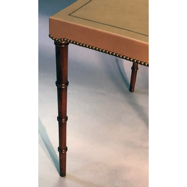 Mid-Century Modern A Mid-Century Barnard and Simonds Taupe Leather Game Table and Chairs For Sale - Image 3 of 7