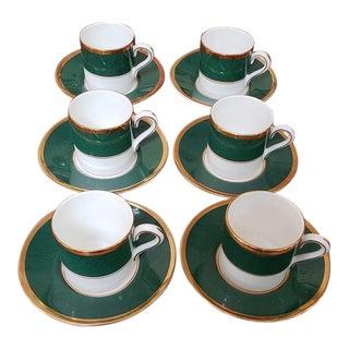 "Set of Six ""Coalport"" Bone China Dessert Tea Cups W/ Saucers For Sale"