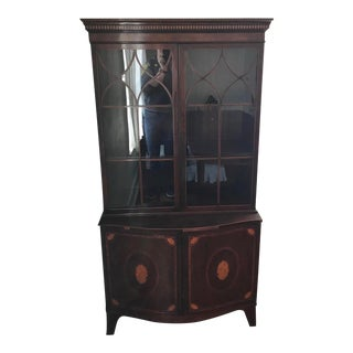 The Company of Mastercraftsmen Hepplewhite-Style Glass Front Marquetry Inlaid China Cabinet For Sale