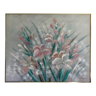 Lee Reynolds Large Flower Oil on Canvas Painting For Sale