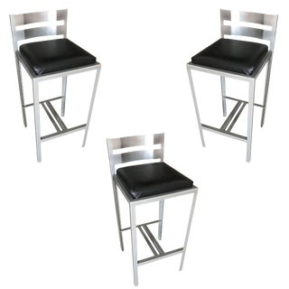 Industrial Loft Modernist Powder Coated Steel Bar Stools, Set of 3 For Sale