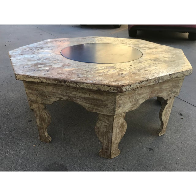 Moroccan Moroccan Distressed Wood Octagonal Coffee Table For Sale - Image 3 of 13