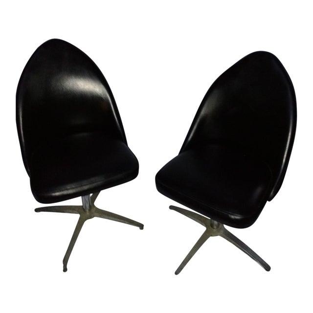 Vintage Black Vinyl Swivel Chairs - A Pair - Image 1 of 8