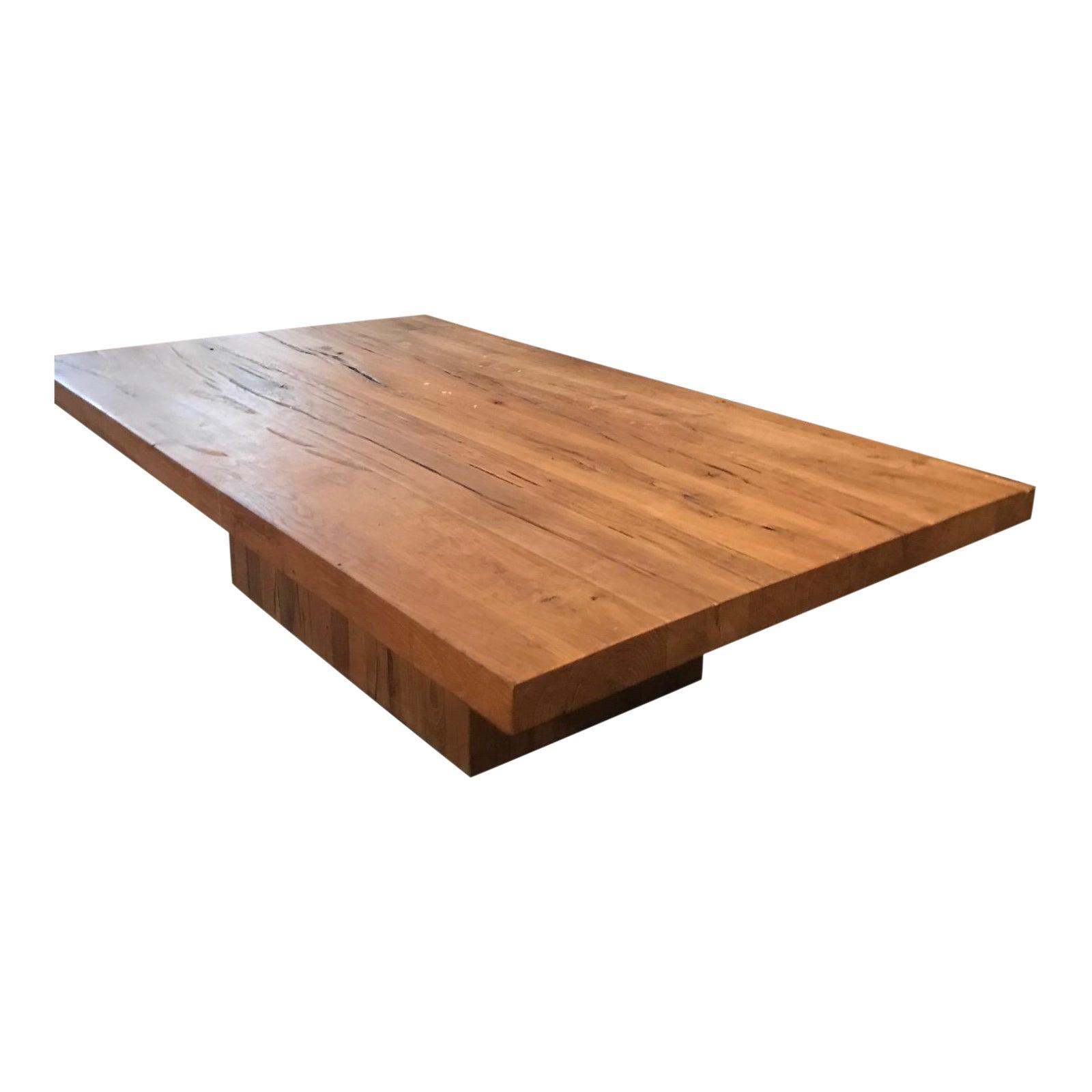 Restoration Hardware Reclaimed Russian Oak Plinth Coffee Table - Chairish