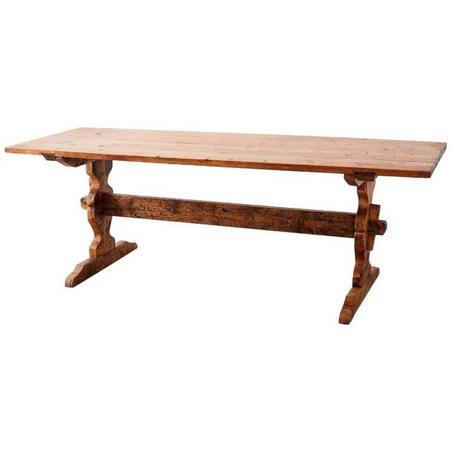 Rustic Italian Baroque Style Pine Trestle Farm Table For Sale - Image 13 of 13