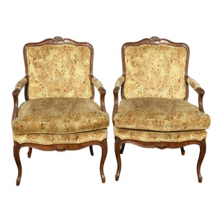Vintage Henredon French Provincial Velvet Peacock Accent Chairs - a Pair