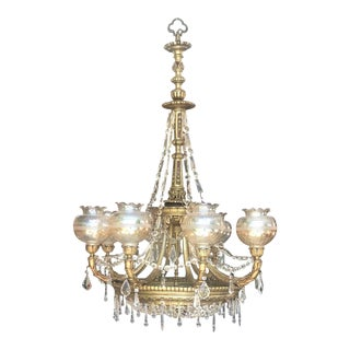 20th Neoclassical 8 Lamp Shades Spanish Crystal and Bronze Handcrafted Chandelier For Sale