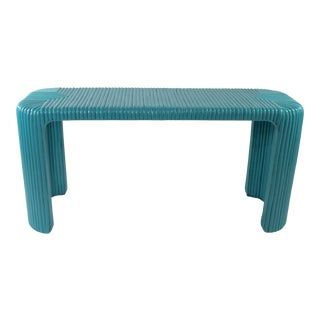 Bamboo Console Table With Aquamarine Lacquer For Sale