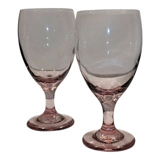 Vintage Blown Glass Pink Amethyst Glass Water Goblets - A Pair For Sale