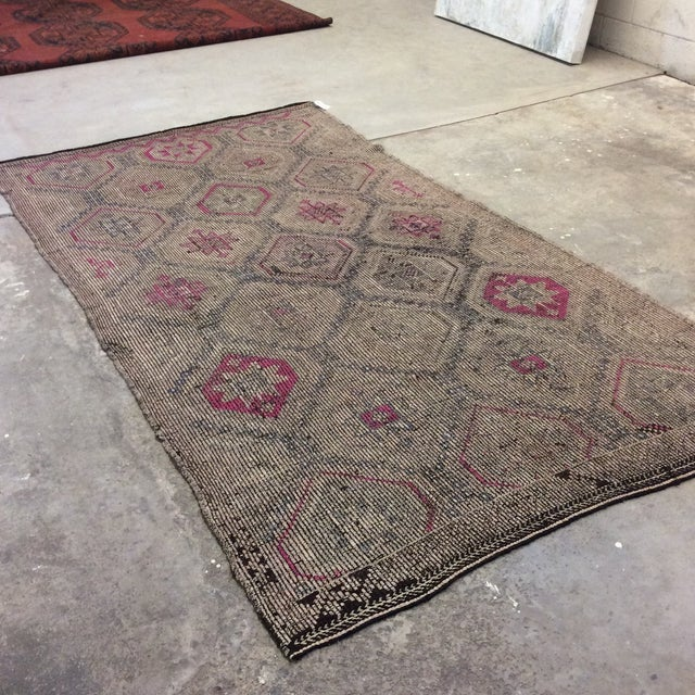 It's time to get on the Kilim kick! Beautiful pinks and greys in this vintage Turkish sumac. Incredible shape for its age...