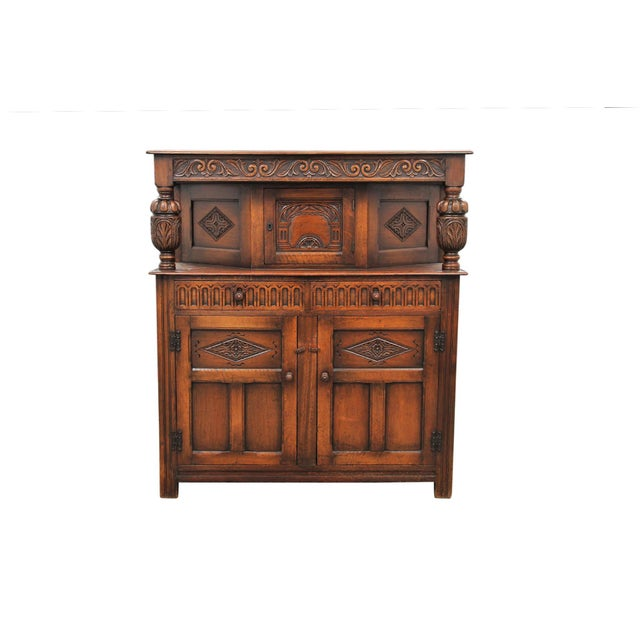 Antique Carved Oak English Server For Sale - Image 9 of 9