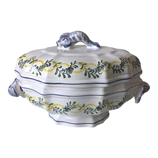 Vintage Faience Dolphin Handle Tureen - Image 1 of 7