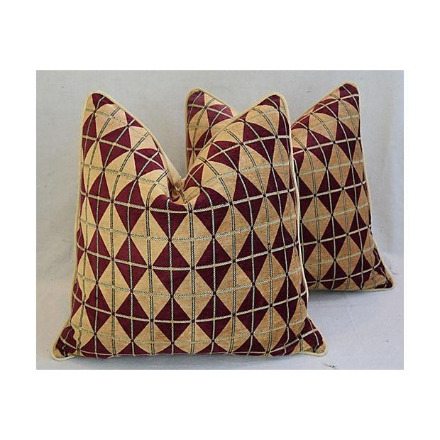 """Diamond Chenille & Velvet Feather/Down Pillows 24"""" Square - Pair For Sale - Image 10 of 14"""