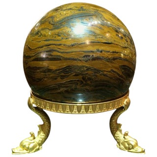 Large Marble Orb on Empire Bronze Stand For Sale