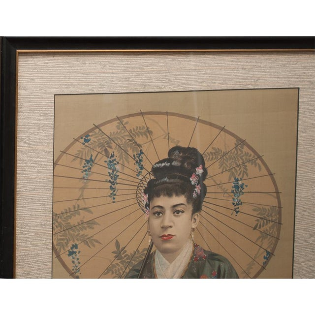 A gorgeous Ansei to Meiji (c. 1850- early 1900s) Japanese painting / portrait, depicting a noble lady wearing traditional...