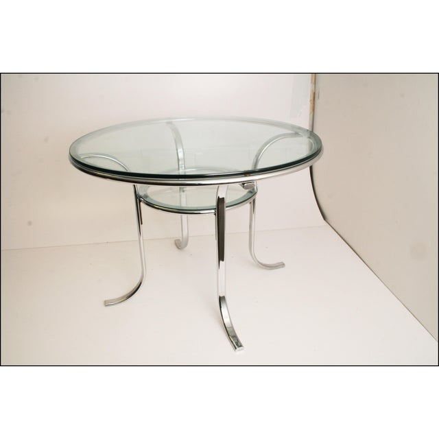 Mid-Century Modern Chrome & Glass Dining Table - Image 5 of 11