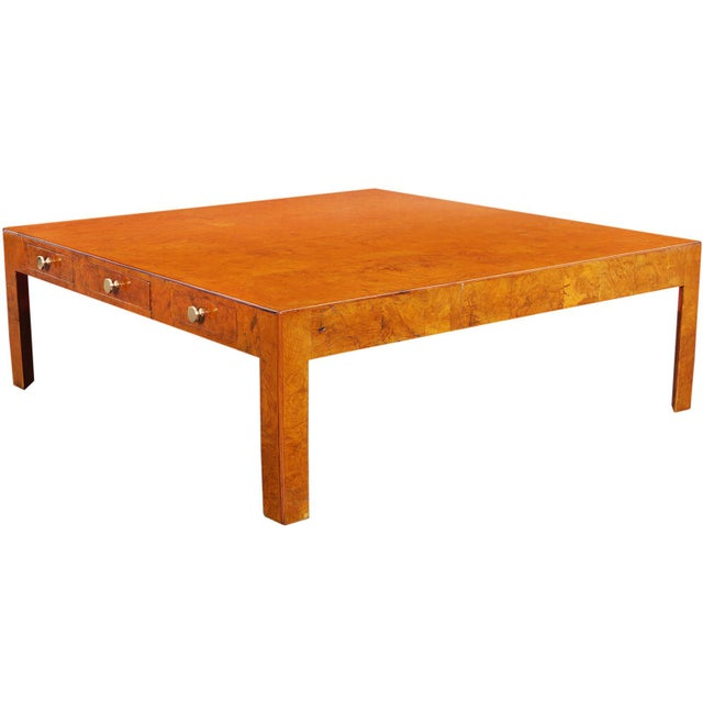 Gold Vintage Italian Burl Wood Coffee Table by Cannell & Chaffin For Sale - Image 8 of 8