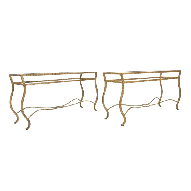 Pair of Ornate Gold Finish Console Tables For Sale