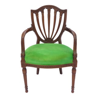 Antique Shield Back Carved Mahogany Armchair French, Early 20th Century Fine For Sale