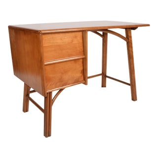Boho Chic Vintage Handcrafted Bamboo Desk, Writing Desk With Two Drawers 1970s For Sale