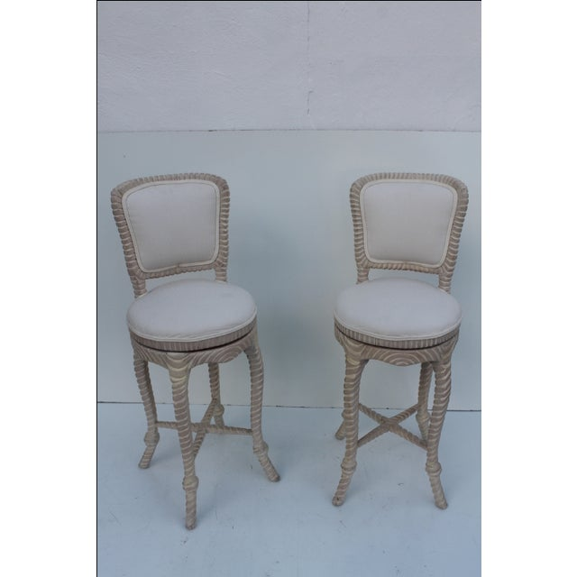 Italian Carved Rope & Tassel Bar Stools -- A Pair - Image 11 of 11