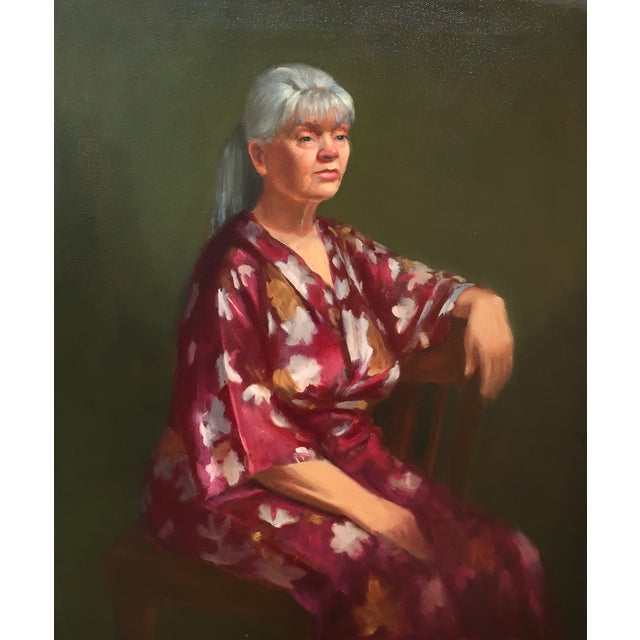 Woman in Red Robe Oil Painting For Sale