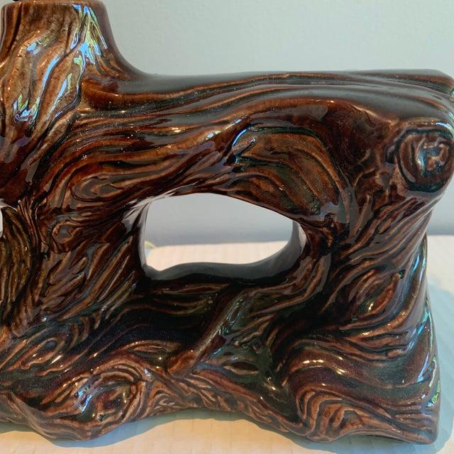 Boho Chic Vintage Mid-Century Faux Bois Glazed Pottery Ceramic Lamp For Sale - Image 3 of 10