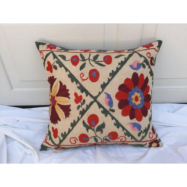 Antique Embroidered Suzani Pillow - Image 2 of 7