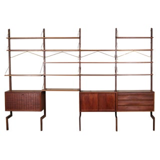 Mid Century Free Standing Cado Shelving System / Wall Unit by Cadovius For Sale