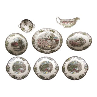 "20th Century Johnson Brothers English ""Friendly Village"" Serving Dishes - Set of 8 For Sale"