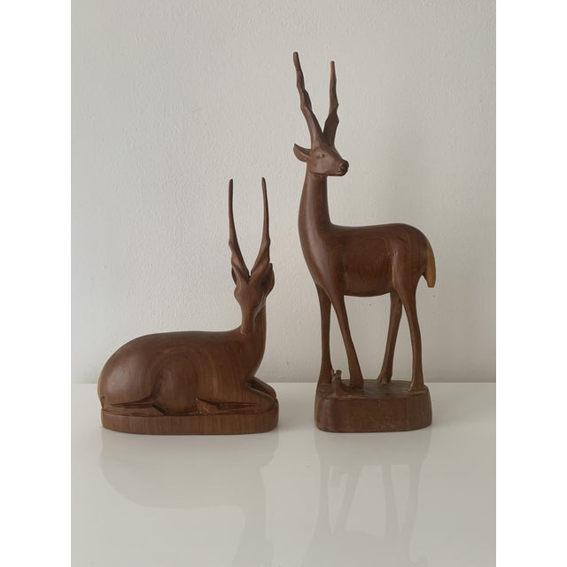 Mid 20th Century Teak Wood Antelope/Gazelle Sculptures - 2 Pieces For Sale - Image 4 of 4