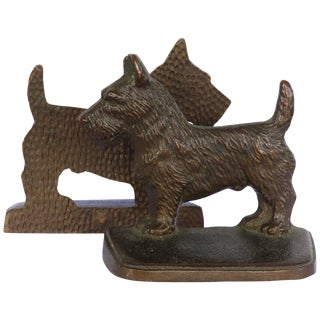 "Vintage Cast Iron ""Scottie"" Dog Bookends, a Pair For Sale"