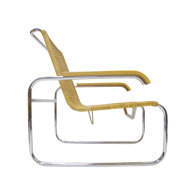 Marcel Breuer B 35 Lounge Chair for Thonet in Chrome and Woven Rattan - Image 1 of 6