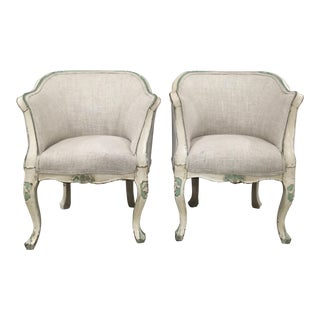 19th Century Gustavian Style Painted Chairs- a Pair For Sale