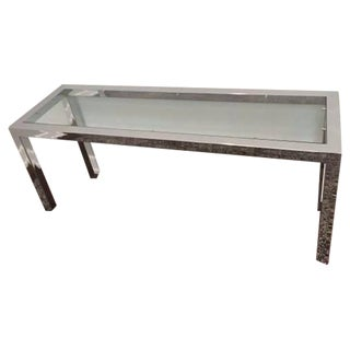 Vintage Chrome And Glass Parson Console Table For Sale