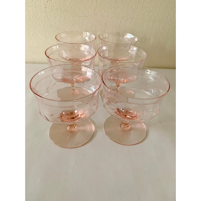 French Blush Pink Etched Set of Six Vintage Champagne Cocktail Glasses For Sale - Image 3 of 13