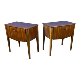 Pair 1950s Drop-Front Nightstands, Mahogany & Brass For Sale