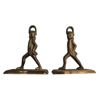 Solid Brass French Officer's Bookends - A Pair For Sale