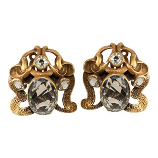 Joseff of Hollywood Large Art Nouveau Style Earrings With Rhinestones For Sale
