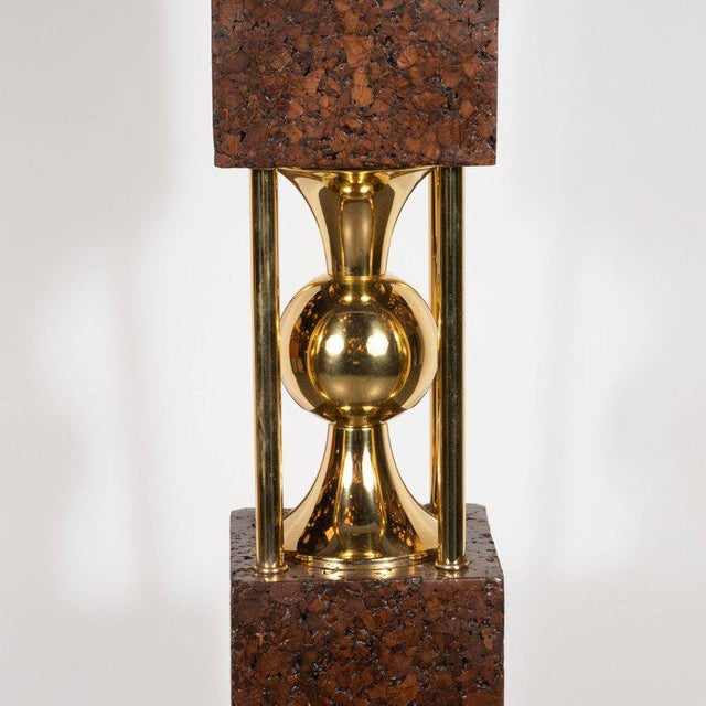 Pair of Sculptural Mid-Century Modern Polished Brass and Cork Table Lamps For Sale - Image 4 of 8