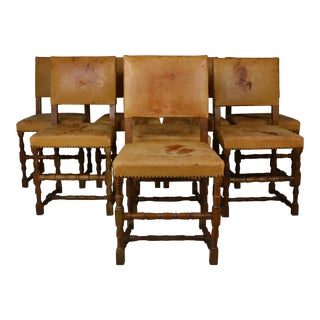 Leather Dining Chairs - Set of 6 For Sale