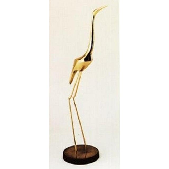 Curtis Jere Brass Crane Sculpture, 1981 For Sale - Image 6 of 9