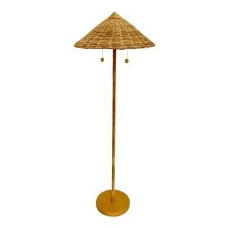 Celerie Kemble for Arteriors Boho Chic Terrace Rattan and Wicker Floor Lamp For Sale