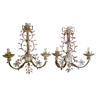 Florentine Tole & Crystal Sconces - Pair For Sale
